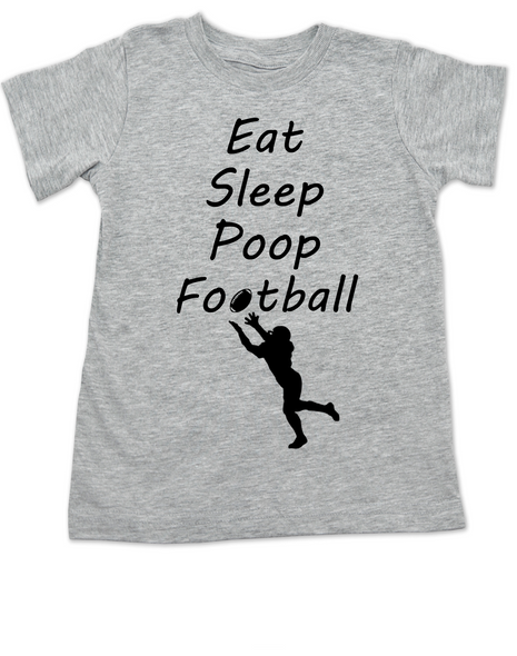 Eat sleep poop football toddler shirt, Funny Football toddler t-shirt, Sports toddler shirts, personalized football toddler shirt, grey