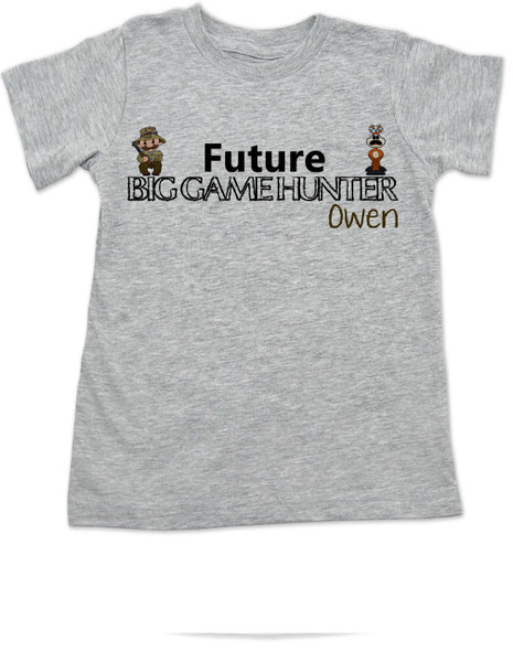 Future Big Game Hunter toddler shirt, Personalize future hunter toddler t-shirt, hunting with dad, deer hunting toddler shirt, camo kid, born to hunt, grey