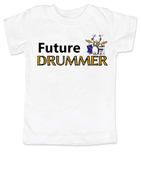 Future Drummer toddler shirt, Musician toddler t-shirt, Drummer like daddy, rock and roll music kid shirt, band toddler shirt, personalized drummer toddler shirt, white