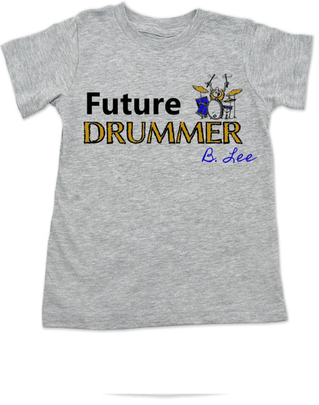 Future Drummer toddler shirt, Musician toddler t-shirt, Drummer like daddy, rock and roll music kid shirt, band toddler shirt, personalized drummer toddler shirt, personalized with custom name, grey
