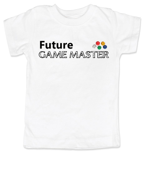 Future Game Master toddler shirt, Gamer toddler t-shirt, Geeky gamer, nerdy parents, D&D, Dungeons and Dragons, Magic the Gathering, Live Action Role Playing, Larping for kids, personalized geek toddler gift, white