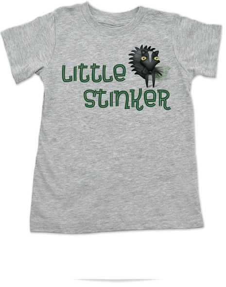 Little Stinker toddler shirt, Stinky toddler t-shirt, cute funny skunk kid shirt, stinker kid tshirt, grey