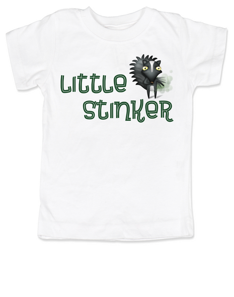 Little Stinker toddler shirt, Stinky toddler t-shirt, cute funny skunk kid shirt, stinker kid tshirt, white