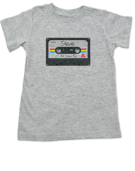Mix Tape Personalized toddler shirt, cassette tape toddler shirt, Rock N Roll kid clothes, Personalized cassette tape kid t-shirt, retro music kids, old school music toddler shirt, vintage rock kid t shirt, classic rock kid shirt, old school toddler shirt with custom name, grey
