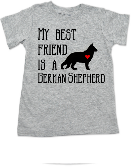 My Best Friend is a German Shepherd toddler shirt, Shepherd Puppy Love toddler t-shirt, kids Best Friend, Fur baby best friend, Love my doggy, personalized dog lover toddler shirt, unique baby shower or birthday gift, personalized kid birthday gift, cute I love my dog kid clothes, badass dog toddler shirt, Rescue dog toddler shirt, personalized dog kid shirt, toddler shirt with custom dog name, grey