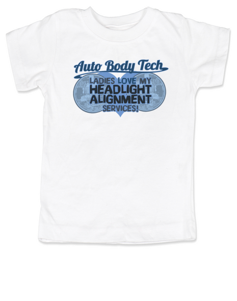 Auto Body Tech toddler shirt, Headlight alignment specialist, funny auto shop kid clothes, Mechanic daddy, kid or toddler gift for mechanics and auto body techs, dad works on cars, white