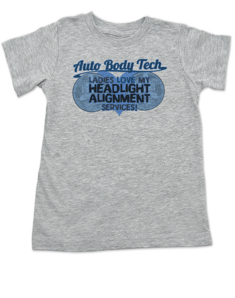 Auto Body Tech toddler shirt, Headlight alignment specialist, funny auto shop kid clothes, Mechanic daddy, kid or toddler gift for mechanics and auto body techs, dad works on cars, grey