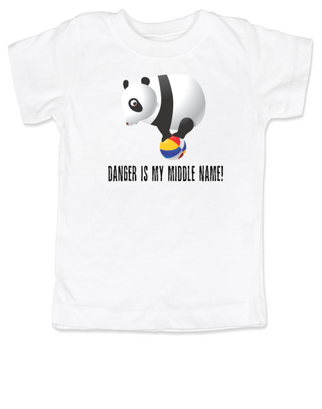 Danger is my middle name, panda toddler shirt, panda bear on ball, adventurous kid, fearless, live life to the fullest