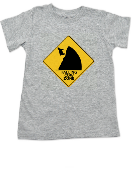 falling cow toddler shirt, silly random toddler t-shirt, warning sign kid t shirt, watch out for falling cows, grey