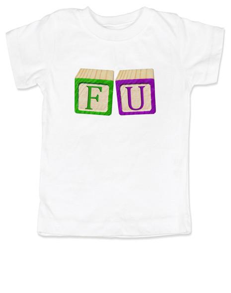 FU blocks toddler shirt, f bomb toddler t-shirt, wooden blocks, rude blocks, offensive kid t shirt, F you kid, white