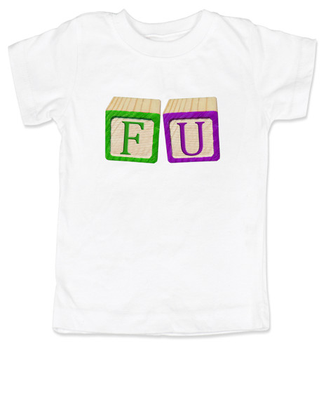 FU blocks toddler shirt, f bomb toddler t-shirt, wooden blocks, rude blocks, offensive kid t shirt, F you kid, white
