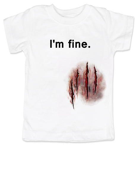 bloody wound halloween shirt, zombie attack toddler shirt, funny toddler Halloween, Halloween Party shirt, Halloween kid tee, Cool Halloween toddler shirt, Funny Halloween kid Clothes, I'm fine wound shirt