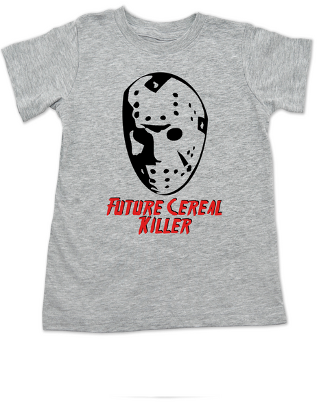 Jason Cereal Killer toddler shirt, Future cereal killer halloween toddler shirt, Friday the 13th kid shirt, funny jason halloween toddler shirt, Cereal killer toddler, jason mask halloween shirt, creepy halloween toddler shirt, grey