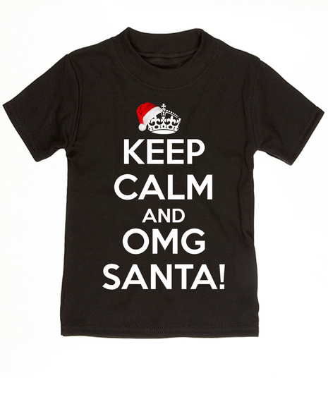 Keep Calm OMG Santa toddler shirt, Keep Calm toddler shirt, funny christmas toddler t-shirt, omg santa kid shirt, black