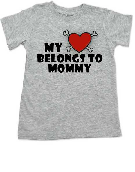 My heart belongs to Mommy toddler shirt, I love my mommy kid t shirt, My mommy rocks, Badass mom toddler t-shirt, Valentines day toddler shirt, Rock n Roll Valentine's, Badass kid Valentine, grey