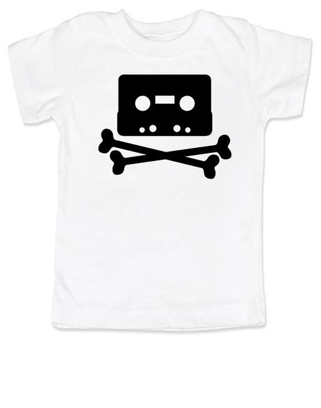 Piratebay toddler shirt, Internet Pirate toddler t-shirt, classic cassette tape, download music kids shirt, music tape toddler shirt, skull and crossbones on music tape, future internet pirate, white