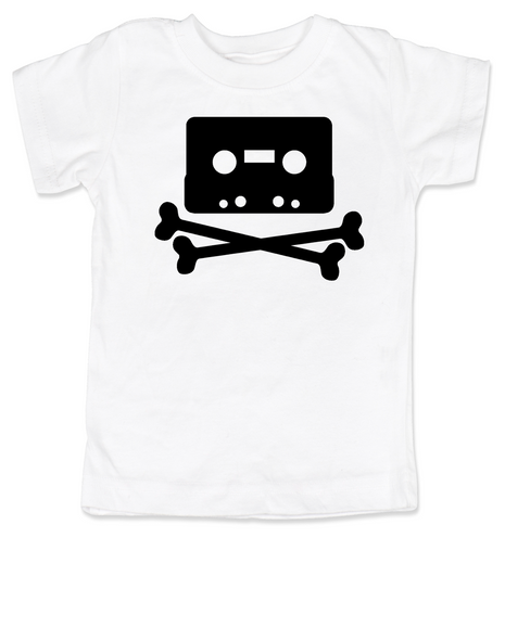 Piratebay toddler shirt, Internet Pirate toddler t-shirt, classic cassette tape, download music kids shirt, music tape toddler shirt, skull and crossbones on music tape, future internet pirate, white