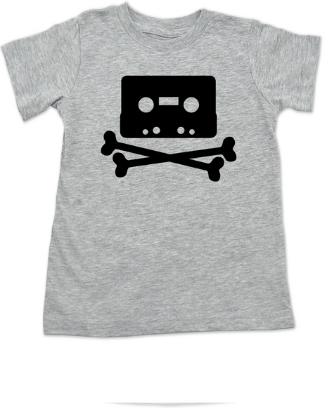 Piratebay toddler shirt, Internet Pirate toddler t-shirt, classic cassette tape, download music kids shirt, music tape toddler shirt, skull and crossbones on music tape, future internet pirate, grey