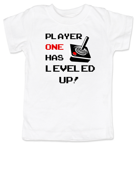 Player has Leveled Up toddler shirt, Personalized Birthday toddler shirt, Gamer kid Birthday, Geeky Gamer bodysuit, Video Game toddler t-shirt, 80's kid