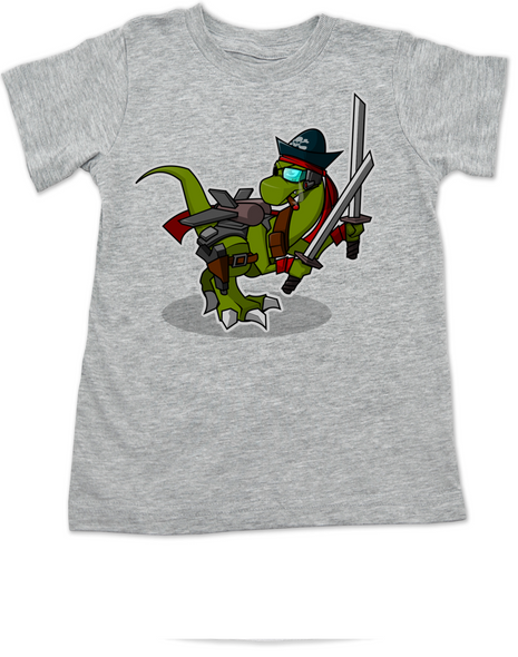 Samurai Pirate Trex toddler shirt, Ninja dinosaur toddler shirt, Pirate T-Rex kid shirt, Cool Trex toddler shirt, badass dinosaur kid shirt, Pirate Ninja Dinosaur, grey