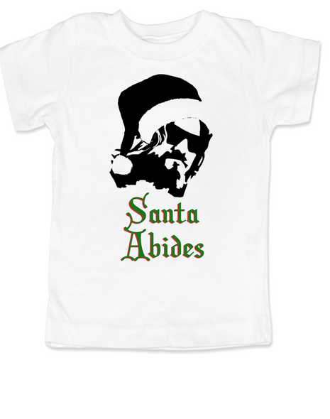 Santa Abides, funny christmas toddler shirt, The Dude holiday toddler t-shirt, The Big Lebowski movie toddler shirt, The holiday dude