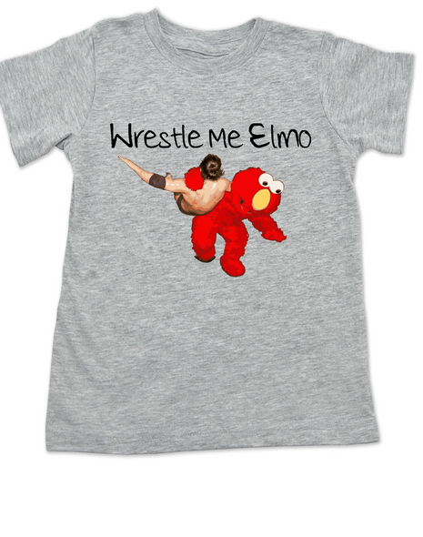 Wrestle Me Elmo toddler shirt, Elmo wrestling, Funny Sesame Street toddler shirt, grey