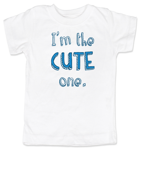 Funny Twin toddler shirt Set, Funny birthday gift for twins, Funny Sibling tees,  Cute One toddler t-shirt, Smart One toddler t-shirt, matching t-shirt set for siblings, funny sister shirts, funny brother shirts, I'm the cute one, white