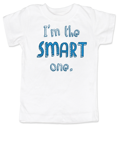 Funny Twin toddler shirt Set, Funny birthday gift for twins, Funny Sibling tees,  Cute One toddler t-shirt, Smart One toddler t-shirt, matching t-shirt set for siblings, funny sister shirts, funny brother shirts, I'm the smart one, white