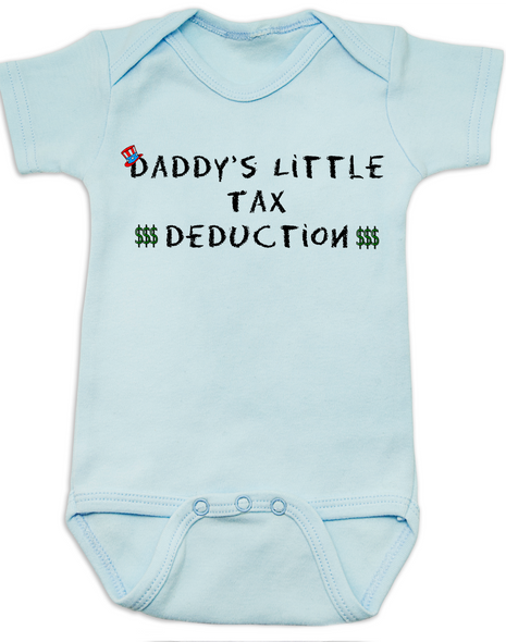 Daddy's Little Tax Deduction baby Bodysuit, Dads tax deduction, Uncle Sam, funny tax time baby onsie, blue
