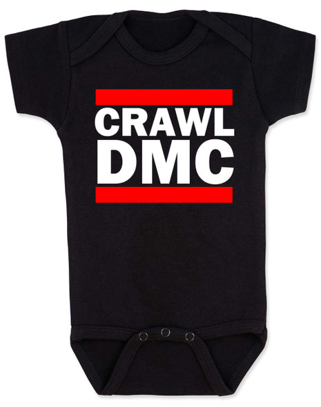 Crawl DMC baby Bodysuit, Run DMC baby clothes, black