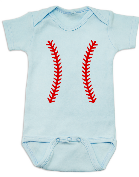 baseball baby Bodysuit, baseball threads baby Bodysuit blue
