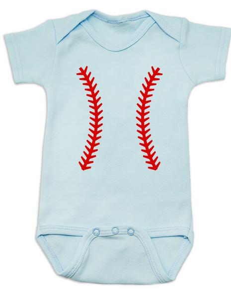 baseball baby Bodysuit, baseball threads baby Bodysuit blue