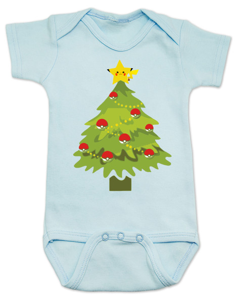 pokemon christmas baby Bodysuit, holiday geek baby, pikachu christmas tree, funny christmas baby clothes, blue