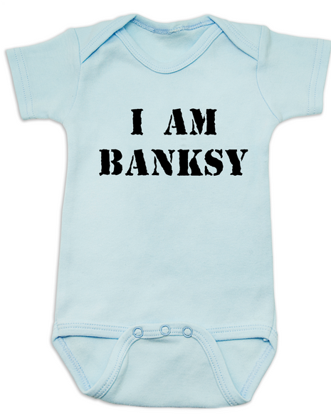 I am Banksy baby Bodysuit, Banksy baby clothing, blue