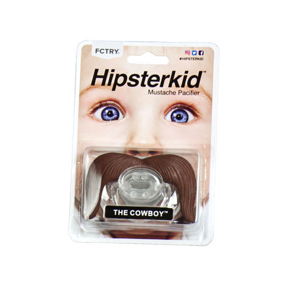Mustache Pacifier, Mustachifier, The Cowboy, Handlebar mustache, funny baby pacifier, funny mustache pacifier, baby shower gift add-on, best baby gift, funny boy binky, mustache binkie, fake mustache on baby, Hipster Kid, Hipsterkid pacifier, in packaging