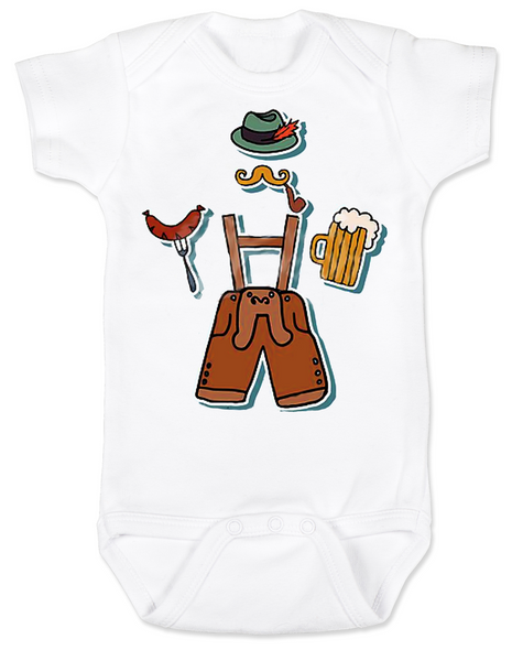 Oktoberfest baby Bodysuit, German festival guy, lederhosen baby, beer and sausage festival, german fest baby clothes, lederhosen onsie, baby boy lederhosen, boy oktoberfest outfit, baby's first oktoberfest, german baby, polish baby, Wurstfest baby Bodysuit, little bodies baby Bodysuit, Oktoberfest lederhosen Bodysuit