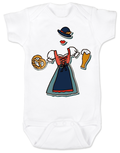 Oktoberfest baby Bodysuit, Dirndl dress baby, german festival girl Bodysuit, beer and sausage festival, german fest baby clothes, lederhosen Bodysuit, baby girl dirndl, girl oktoberfest outfit, baby's first oktoberfest, german baby, polish baby, Wurstfest baby Bodysuit, little bodies baby Bodysuit, Oktoberfest girl dirndl Bodysuit