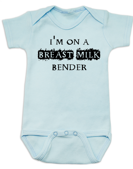 Breast Milk Bender baby Bodysuit, funny breastfeeding Bodysuit, breast fed baby Bodysuit, offensive breastfeeding onsie, blue