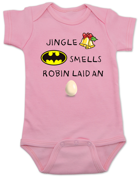 Jingle bells, batman smells, funny christmas baby clothes, robin laid an egg, funny jingle bells Bodysuit, silly christmas onsie, pink