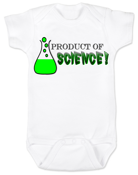 Product of Science baby Bodysuit, test tube baby, fertility treatments, in vitro fertilization, artificial insemination, funny infertility baby Bodysuit, geeky fertility onsie