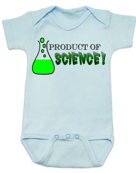 Product of Science baby Bodysuit, test tube baby, fertility treatments, in vitro fertilization, artificial insemination, funny infertility baby Bodysuit, geeky fertility onsie, blue