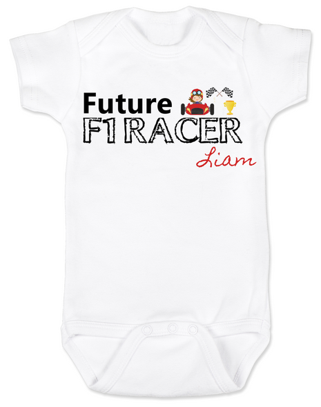 Future F1 Racer baby Bodysuit, Future race car driver, Formula one racing baby, indy car racing baby, parents that love F1 racing, personalized F1 racer baby gift, boy, white