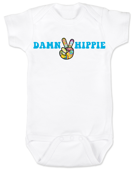 Damn Hippie Baby Bodysuit, little hippie baby, naturally organic infant, nature baby onsie, flower child Bodysuit, peace love and breastmilk, peace sign baby Bodysuit, white