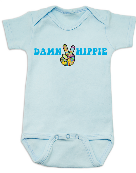 Damn Hippie Baby Bodysuit, little hippie baby, naturally organic infant, nature baby onsie, flower child Bodysuit, peace love and breastmilk, peace sign baby Bodysuit, blue