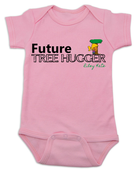 Future Tree Hugger Baby Bodysuit, Future Hippie, Future Conservationist, Future Animal Activist, tree hugging infant, pink