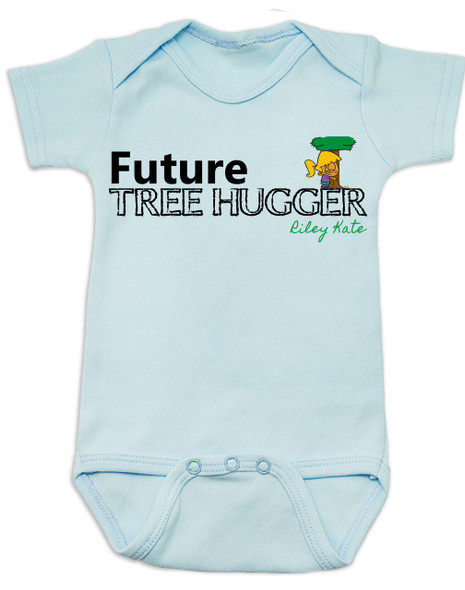 Future Tree Hugger Baby Bodysuit, Future Hippie, Future Conservationist, Future Animal Activist, tree hugging infant, blue