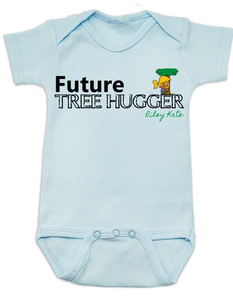 Future Tree Hugger Baby Bodysuit, Future Hippie, Future Conservationist, Future Animal Activist, tree hugging infant, blue