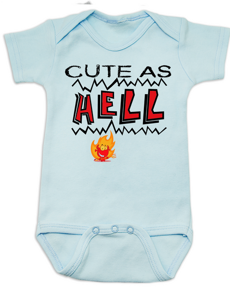 Cute as Hell Baby Bodysuit, little hellion, little devil baby Bodysuit, cute as hell infant bodysuit, cute as shit baby onsie, blue