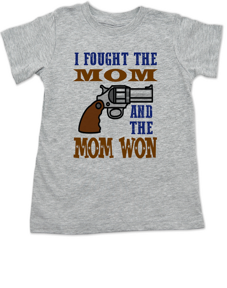 I fought the mom and the mom won, I fought the mom toddler shirt, the clash band shirt for kids, funny rock and roll toddler shirt, funny shirt for moms with toddlers, I fought the law and the law won, funny clash shirt for toddlers, grey