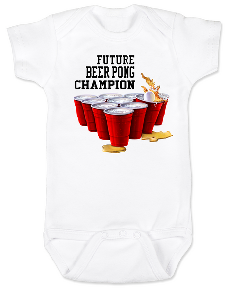 Future Beer Pong Baby Bodysuit white